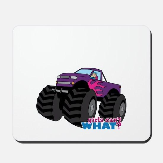 Monster Truck Driver Girl - Light/Blonde Mousepad