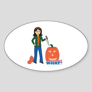 Pumpkin Carver Medium Sticker (Oval)