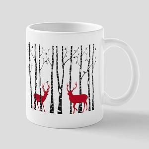 Christmas deers in birch tree forest Mugs