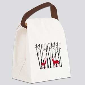 Christmas deers in birch tree forest Canvas Lunch