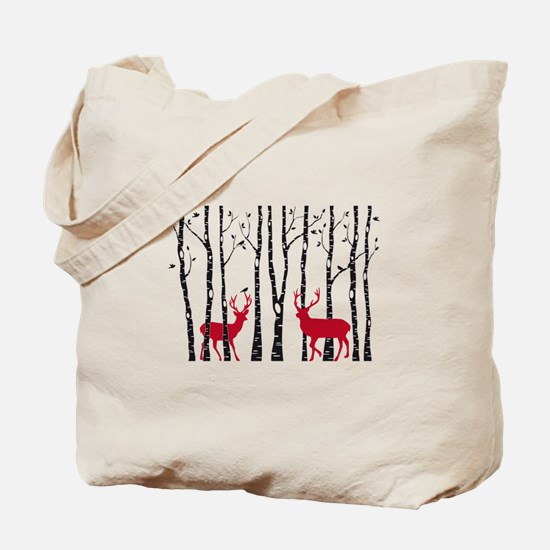 Christmas deers in birch tree forest Tote Bag