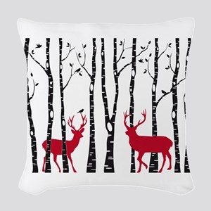 Christmas deers in birch tree forest Woven Throw P