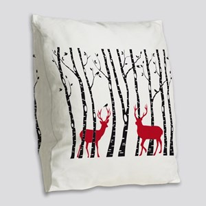 Christmas deers in birch tree forest Burlap Throw