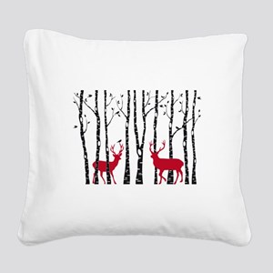 Christmas deers in birch tree forest Square Canvas
