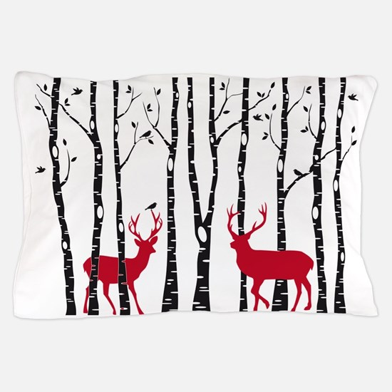 Christmas deers in birch tree forest Pillow Case