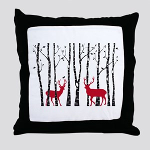 Christmas deers in birch tree forest Throw Pillow