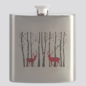 Christmas deers in birch tree forest Flask