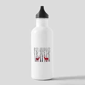 Christmas deers in birch tree forest Water Bottle