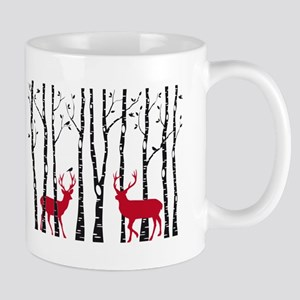 Christmas deers in birch tree forest Mugs
