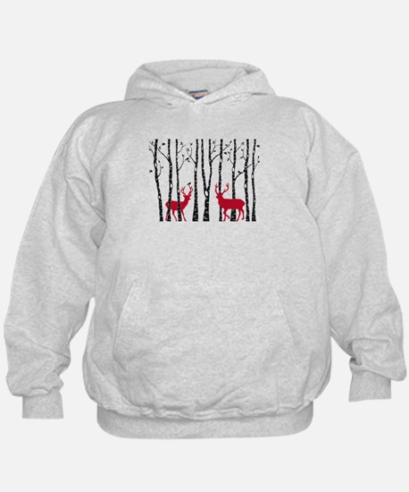 Christmas deers in birch tree forest Hoodie