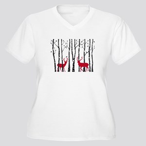 Christmas deers in birch tree forest Plus Size T-S