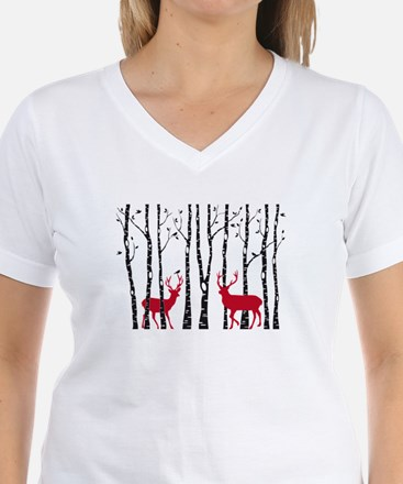 Christmas deers in birch tree forest T-Shirt