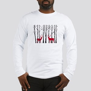 Christmas deers in birch tree forest Long Sleeve T
