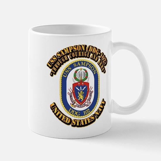 USS Sampson (DDG-102) with Text Mug