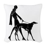 Art Deco Flapper Walking Borzoi Woven Throw Pillow