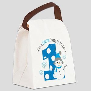 Snowman 1st Birthday Canvas Lunch Bag