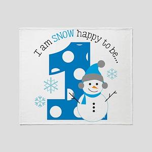 Snowman 1st Birthday Throw Blanket