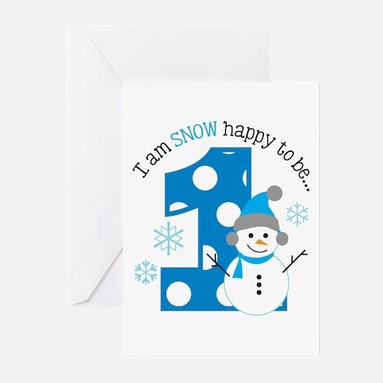 Snowman 1st Birthday Greeting Cards (Pk of 20)