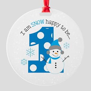 Snowman 1st Birthday Round Ornament
