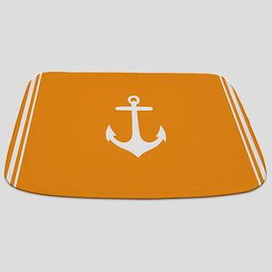 Nautical Orange Anchor Bathmat