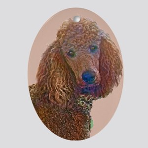 RED POODLE LOVE Ornament (Oval)
