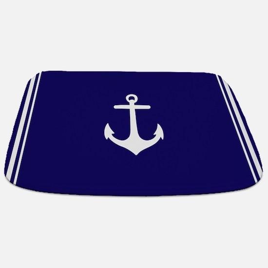 Nautical Navy Blue Anchor Bathmat