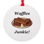 Waffles Junkie Round Ornament