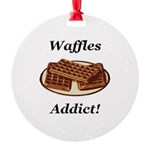 Waffles Addict Round Ornament