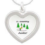 X Country Junkie Silver Heart Necklace