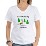 X Country Junkie Women's V-Neck T-Shirt