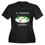 X Country Junkie Women's Plus Size V-Neck Dark T-S