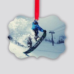 Snowboard extreme Picture Ornament