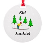 Ski Junkie Round Ornament