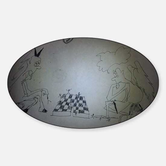 chess game drawing funny Sticker (Oval)