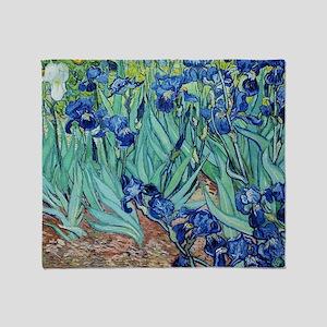 Iris, Vincent van Gogh. Vintage flor Throw Blanket