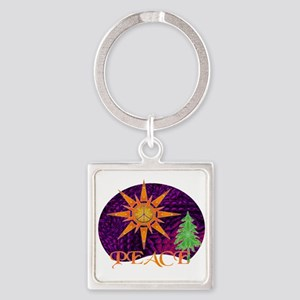 Christmas Peace Square Keychain