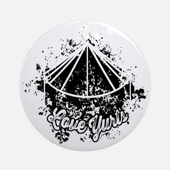 Love Yurts | Black Round Ornament