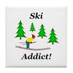 Ski Addict Tile Coaster