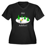 Ski Addict Women's Plus Size V-Neck Dark T-Shirt