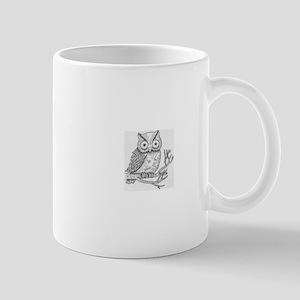 owl-black and white Mugs