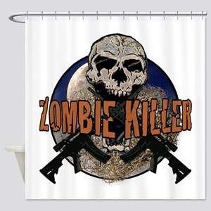 Tactical zombie killer Shower Curtain