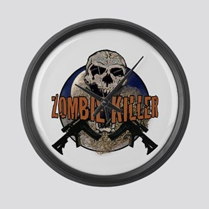 Tactical zombie killer Large Wall Clock