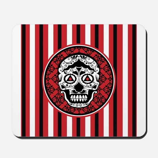 Red Black and white sugar skull Mousepad