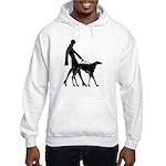 Art Deco Flapper Walking Borzoi Hooded Sweatshirt