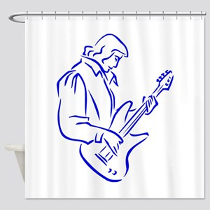 mal ba s playe outline blue Shower Curtain