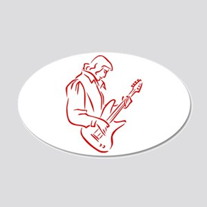 male bass player red outline Wall Decal