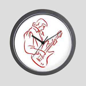 male bass player red outline Wall Clock