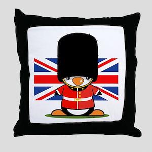 British Soldier Penguin Throw Pillow