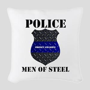 Police Men Of Steel Woven Throw Pillow