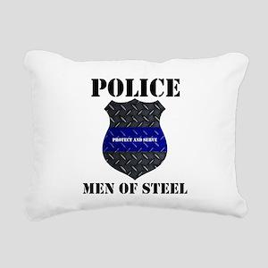 Police Men Of Steel Rectangular Canvas Pillow